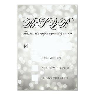 Silver Bokeh Lights Elegant Wedding RSVP 9 Cm X 13 Cm Invitation Card
