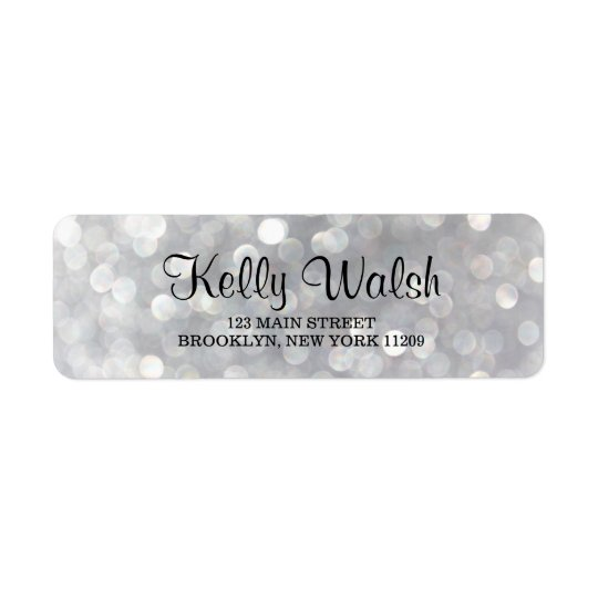 Silver Bokeh Lights Sweet 16 Return Address Labels