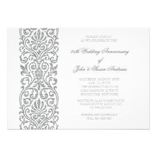 Silver Border 25th Wedding Anniversary Party Personalized Invitation