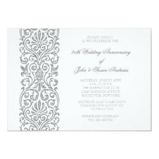 "Silver Border 25th Wedding Anniversary Party 5"" X 7"" Invitation Card"