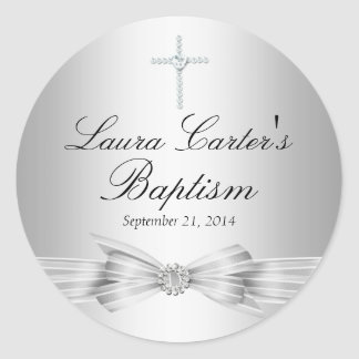 Silver Bow & Cross Baptism Sticker
