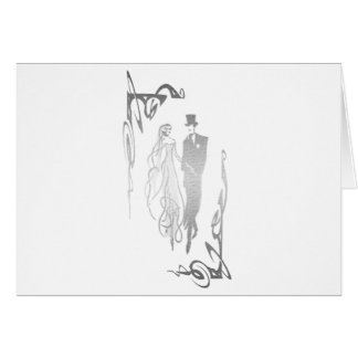 Silver Bride and Groom Art Greeting Card