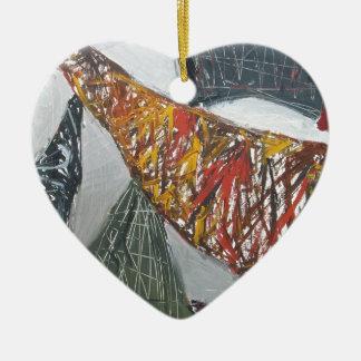 Silver Bridge Building ( abstract architecture) Ceramic Heart Decoration