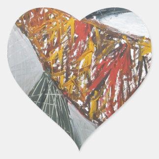Silver Bridge Building ( abstract architecture) Heart Sticker