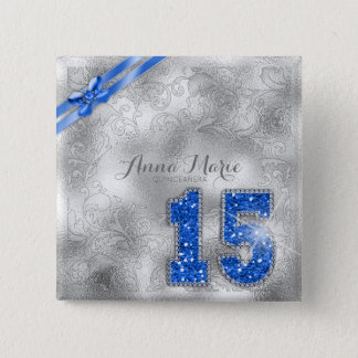 Silver Brocade Fifteenth Birthday Blue ID382 15 Cm Square Badge