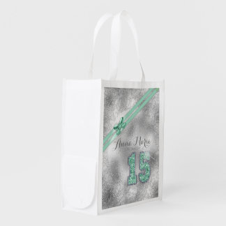 Silver Brocade Fifteenth Birthday Mint Green ID382 Reusable Grocery Bag