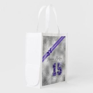 Silver Brocade Fifteenth Birthday Purple ID382 Reusable Grocery Bag