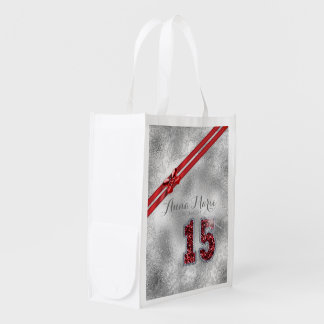 Silver Brocade Fifteenth Birthday Red ID382 Reusable Grocery Bag