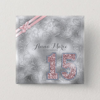 Silver Brocade Fifteenth Birthday Rose Gold ID382 15 Cm Square Badge