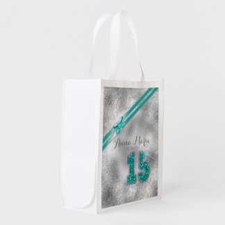 Silver Brocade Fifteenth Birthday Teal ID382 Reusable Grocery Bag