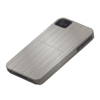 Silver  Brushed Aluminum Metal Pattern-Custom Text iPhone 4 Case-Mate Cases