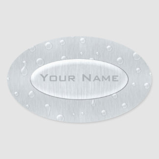 Silver Brushed Metal Look with Water Drops Oval Sticker