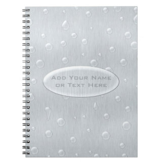 Silver Brushed Metal Look with Water Drops Spiral Notebook