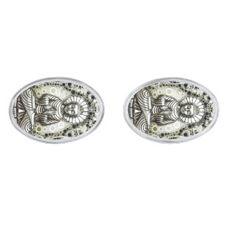 Silver Buddha Cuff Links Silver Finish Cuff Links