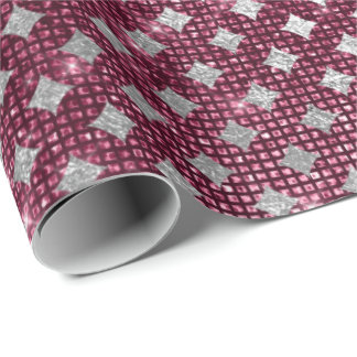 Silver Burgundy Diamond Cut Urban Shimmering Lux Wrapping Paper