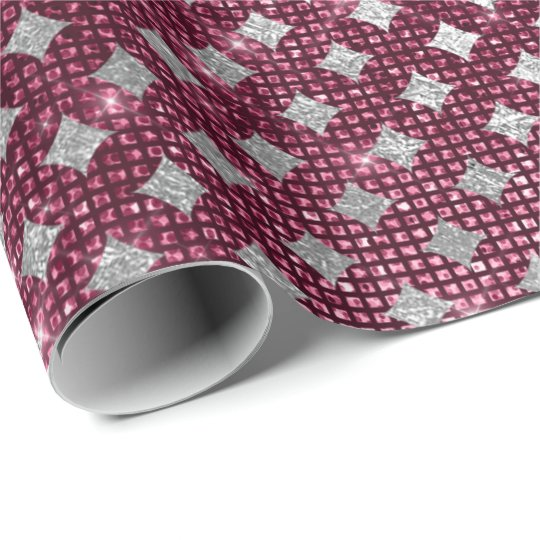 Silver Burgundy Diamond Cut Urban Shimmering Lux Wrapping