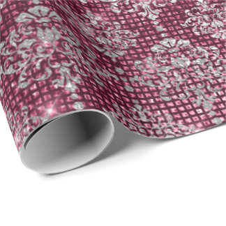Silver Burgundy Royal Damask Urban Shimmering Lux Wrapping Paper