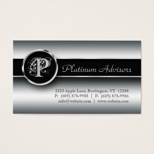Silver Business Card Professional Modern Black
