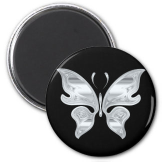 Silver butterfly 6 cm round magnet