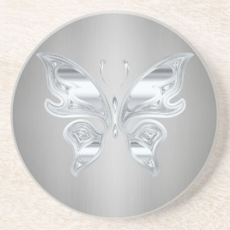 Silver butterfly coaster