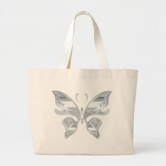 Silver butterfly large tote bag