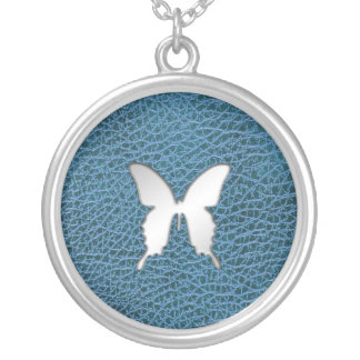 Silver Butterfly on Faux Blue Leather Necklace