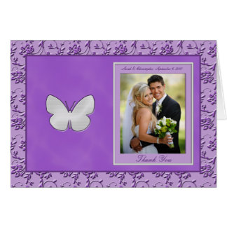 Silver Butterfly on Purple Photo Thank You Card