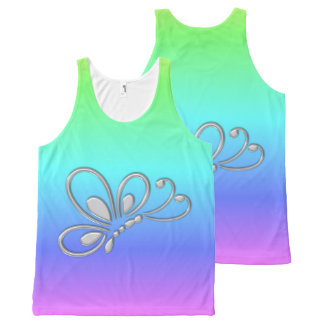 Silver Butterfly Profile Cool Pastel Rainbow All-Over Print Tank Top