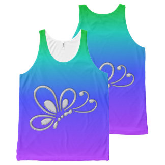 Silver Butterfly Profile Cool Rainbow All-Over Print Tank Top