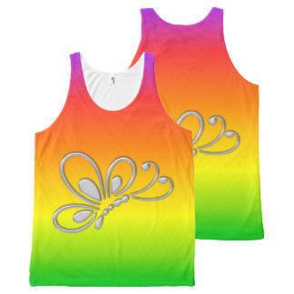 Silver Butterfly Profile Warm Rainbow All-Over Print Tank Top