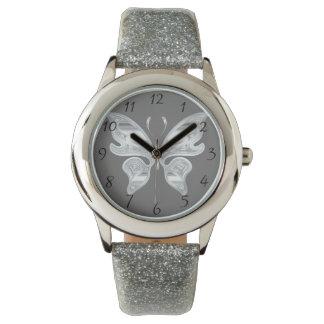 Silver butterfly watch
