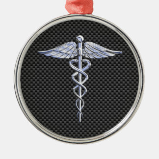 Silver Caduceus Medical Symbol Carbon Fiber Style Silver-Colored Round Decoration