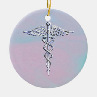 Silver Caduceus Medical Symbol Mother Pearl Decor Christmas Ornament