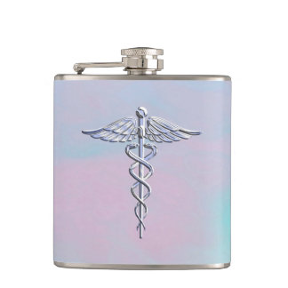 Silver Caduceus Medical Symbol Mother Pearl Hip Flask