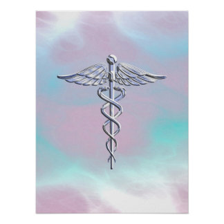 Silver Caduceus Medical Symbol Mother Pearl Poster