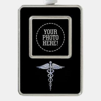 Silver Caduceus Medical Symbol on Black Silver Plated Framed Ornament