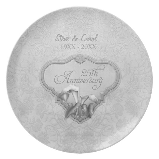 Silver Calla 25th Wedding Anniversary Plate