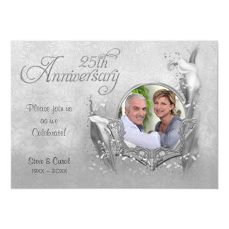 Silver Calla Lily 25th Wedding Anniversary Card