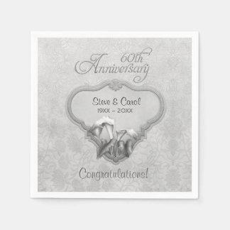 Silver Calla Lily 60th Anniversary  - Customize Paper Napkin