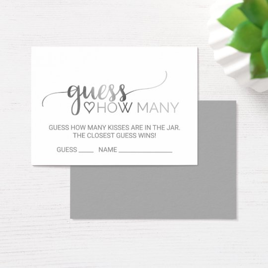 Silver Calligraphy Guess How Many Kisses Cards