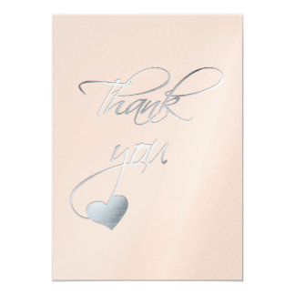 Silver Calligraphy & Heart~ Wedding Day Thank You 13 Cm X 18 Cm Invitation Card