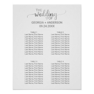 Silver Calligraphy Small Wedding Seating Chart Poster