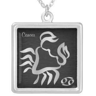 Silver Cancer Zodiac Symbol Silver Plated Necklace