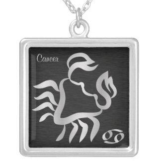 Silver Cancer Zodiac Symbol Square Pendant Necklace