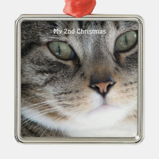 Silver Cat My 2nd Christmas Photo Ornaments