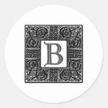 """Silver Celtic """"B"""" Monogram Round Sticker"""
