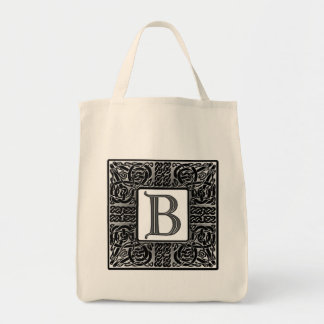 "Silver Celtic ""B"" Monogram Tote Bag"