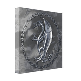 Silver Celtic Dragon Canvas Print