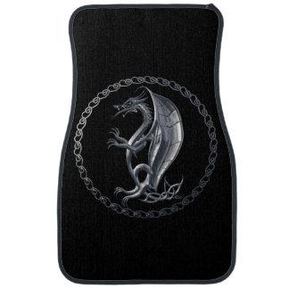 Silver Celtic Dragon Car Mat