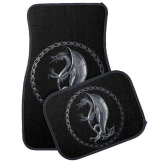 Silver Celtic Dragon Car Mat